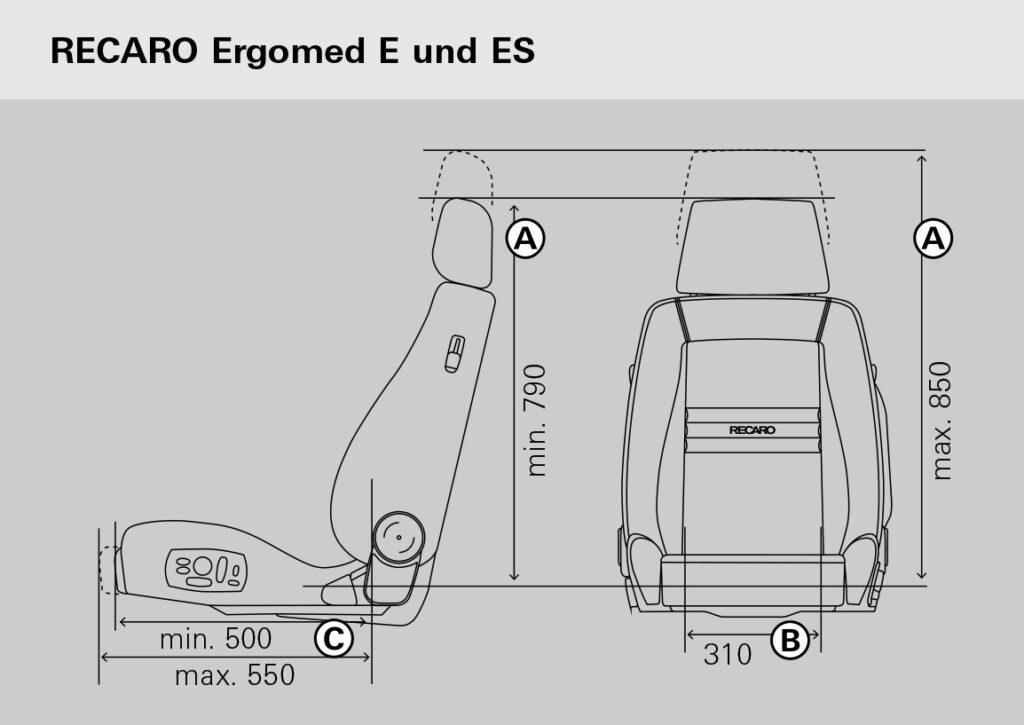 RECARO Ergomed ES Leder schwarz mit Universal-Seitenairbag 5