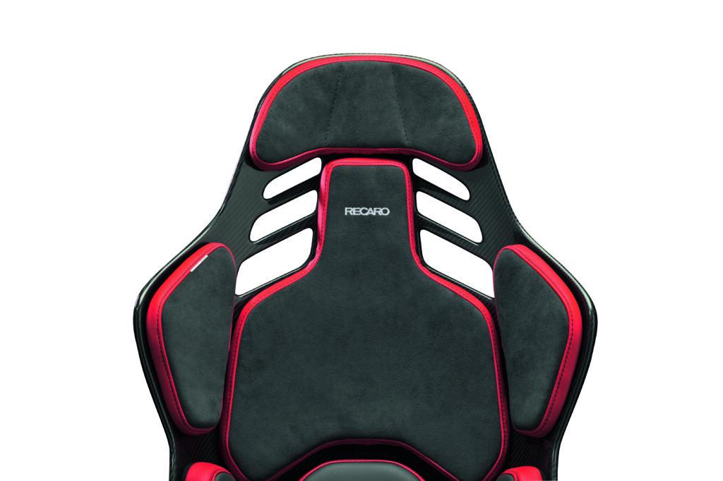 RECARO PODIUM Alcantara® schwarz/Leder rot - Größe M 2